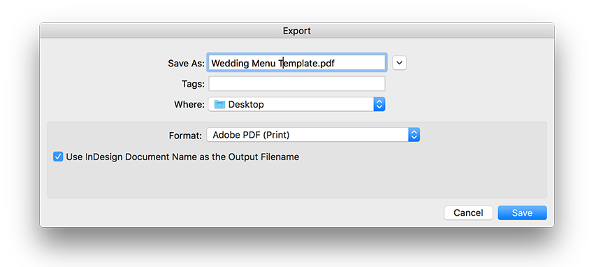 expor the file as a PDF for print