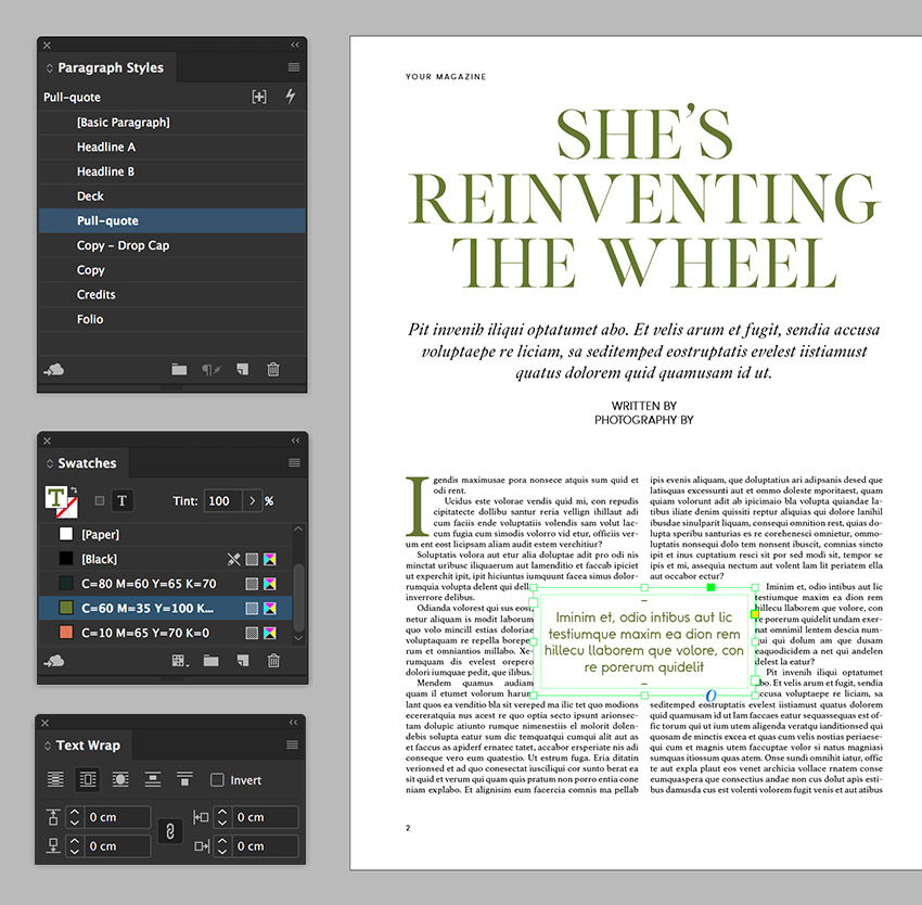 add a pull quote and use the text wrap panel