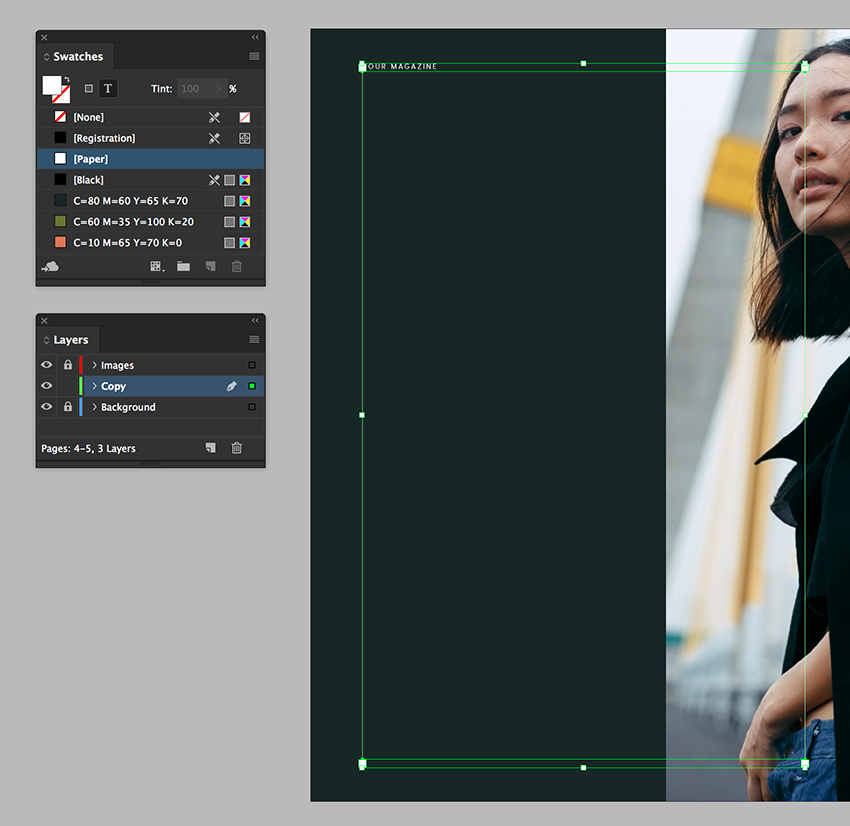 activate the folio and change colors using the swatches panel