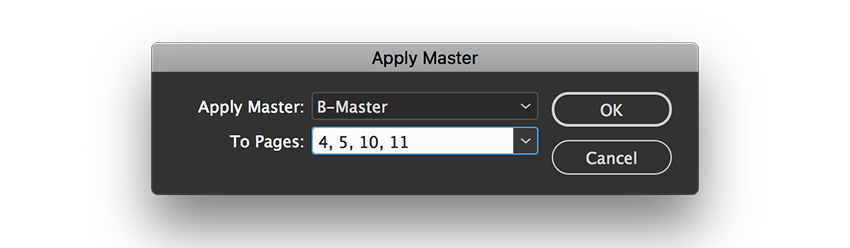 apply B-Master to pages 4 5 10 and 11