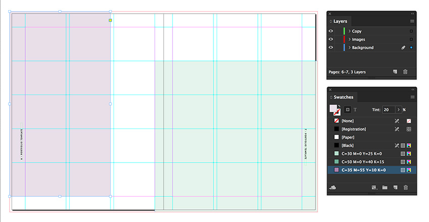 create two rectangles on the spread