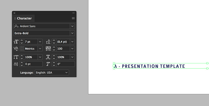 use the character panel to format the folio