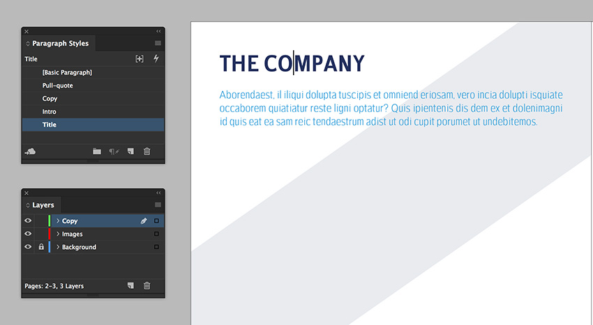 create a text frame to add a title and intro on the page