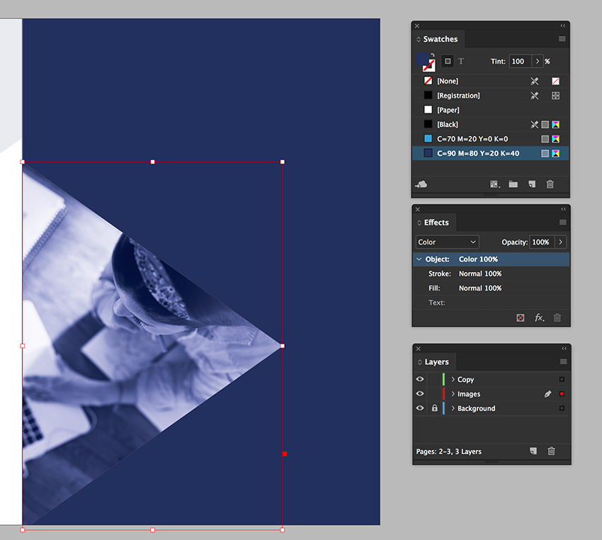 duplicate the triangle to add an effect over the image