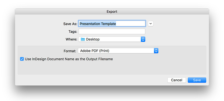 export the presentation template