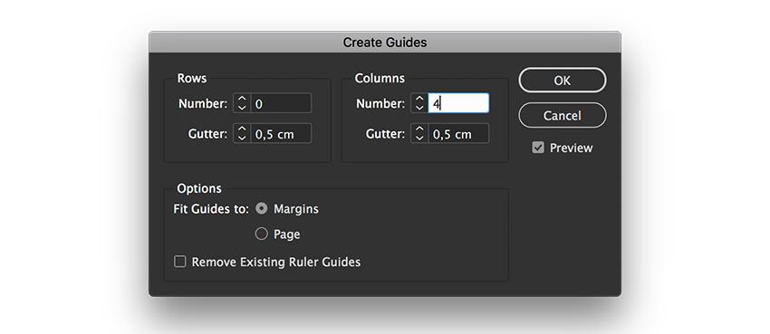 create 4 column guides on the document