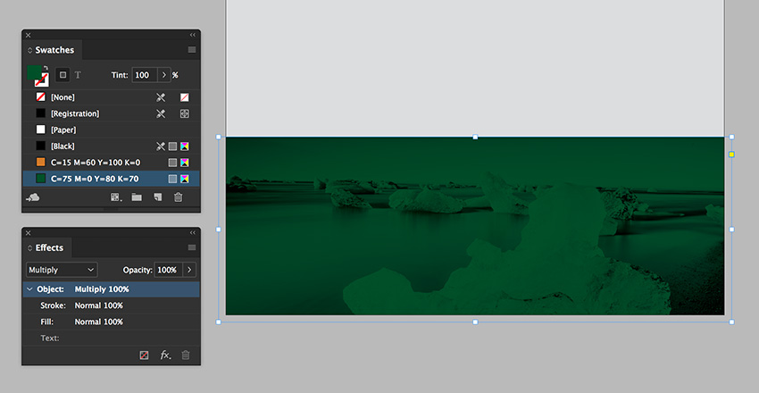 add a rectangle overtop and set the blending mode to multiply