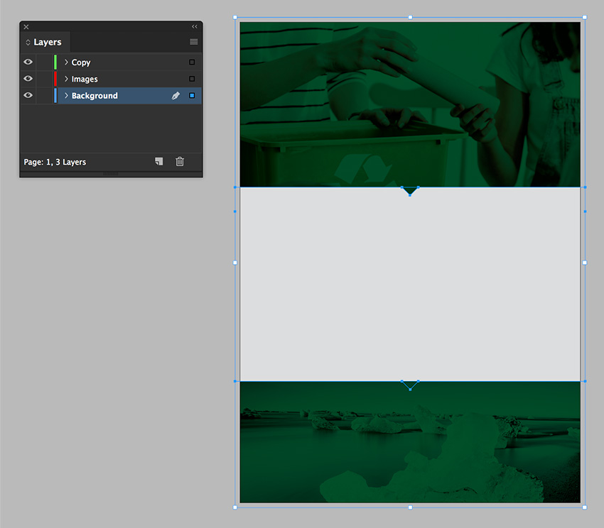 select all the objects and place on the background layer