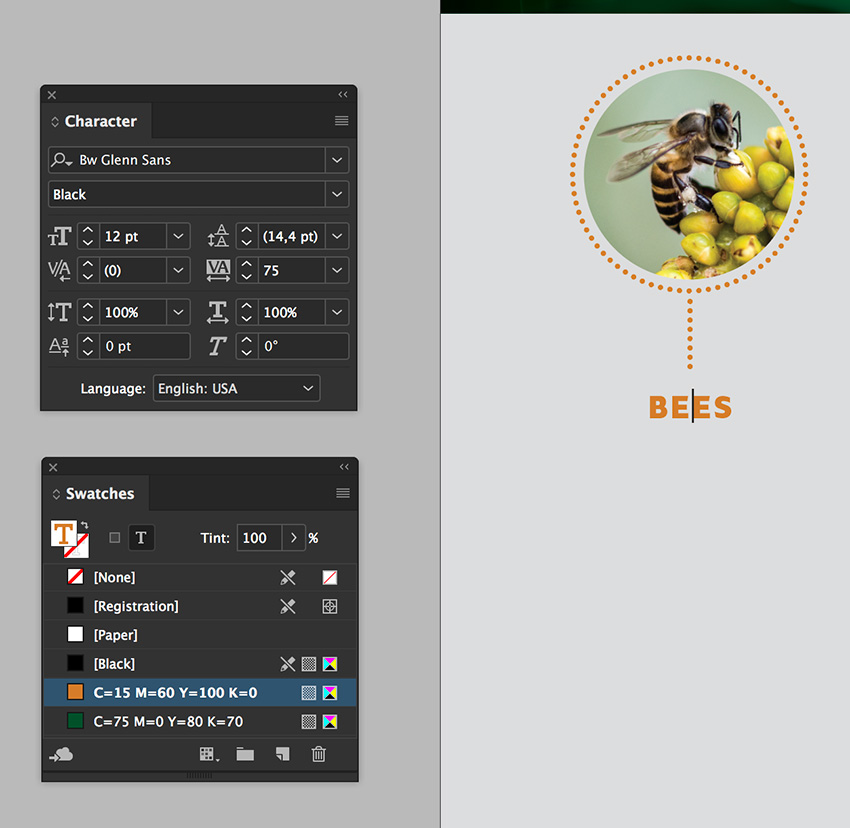 add a text frame and a title Use the character and swatches panel to format it