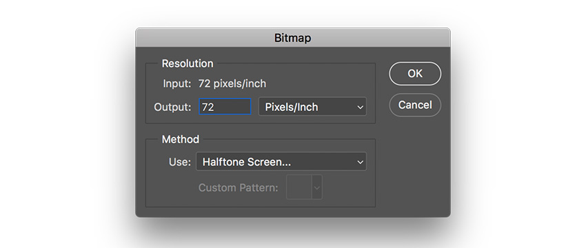 convert the image into bitmap under method use halftone screen