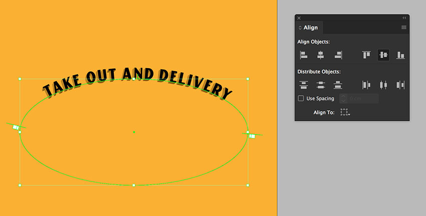 align the three ellipses by using the align panel