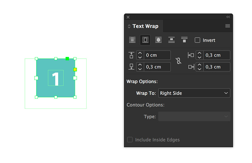 use the text wrap panel to add a wrap around on the text frame