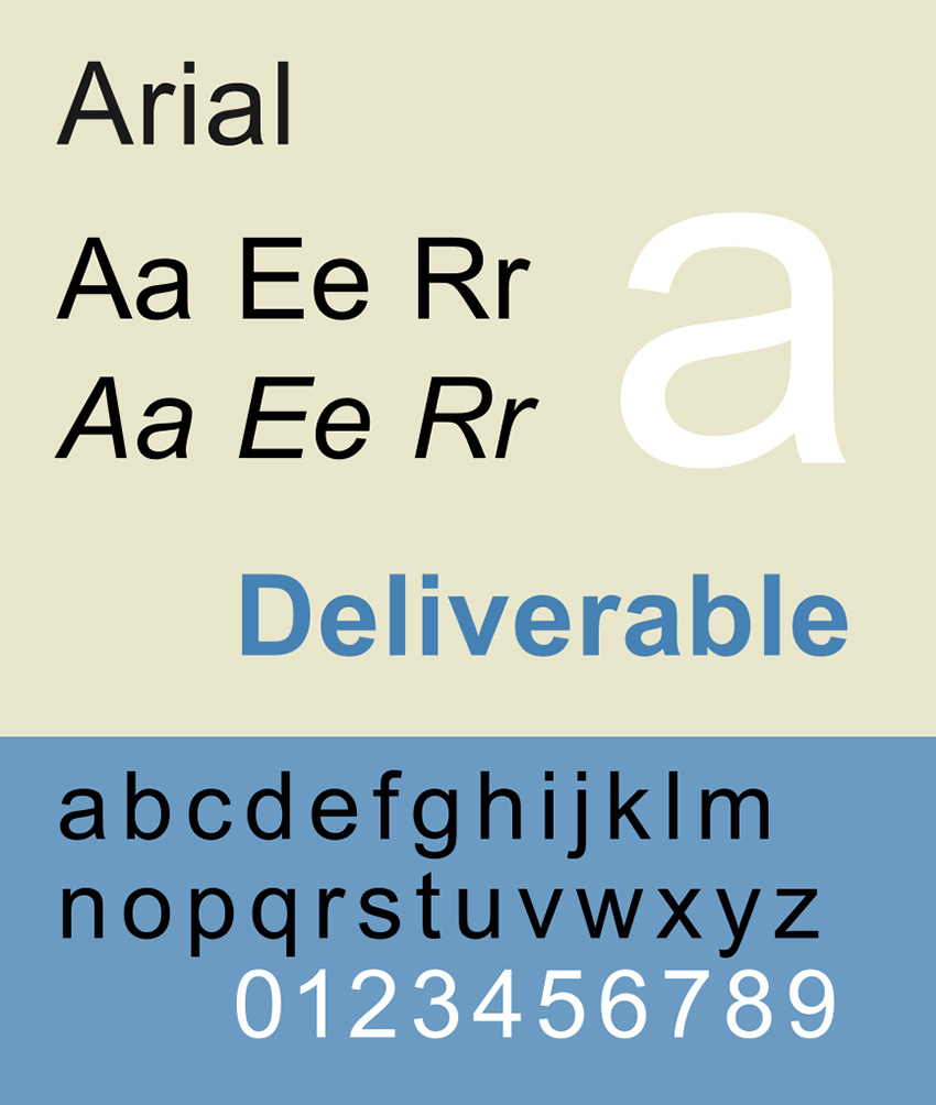 arial has open counters making it dyslexia friendly font