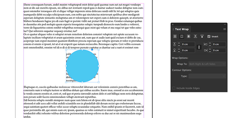 Check the Invert box from the Text Wrap panel