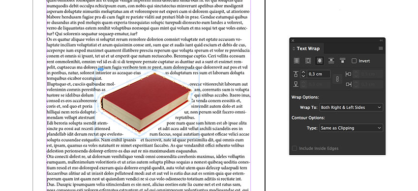 Use the Text Wrap panel to add an Offset to the book