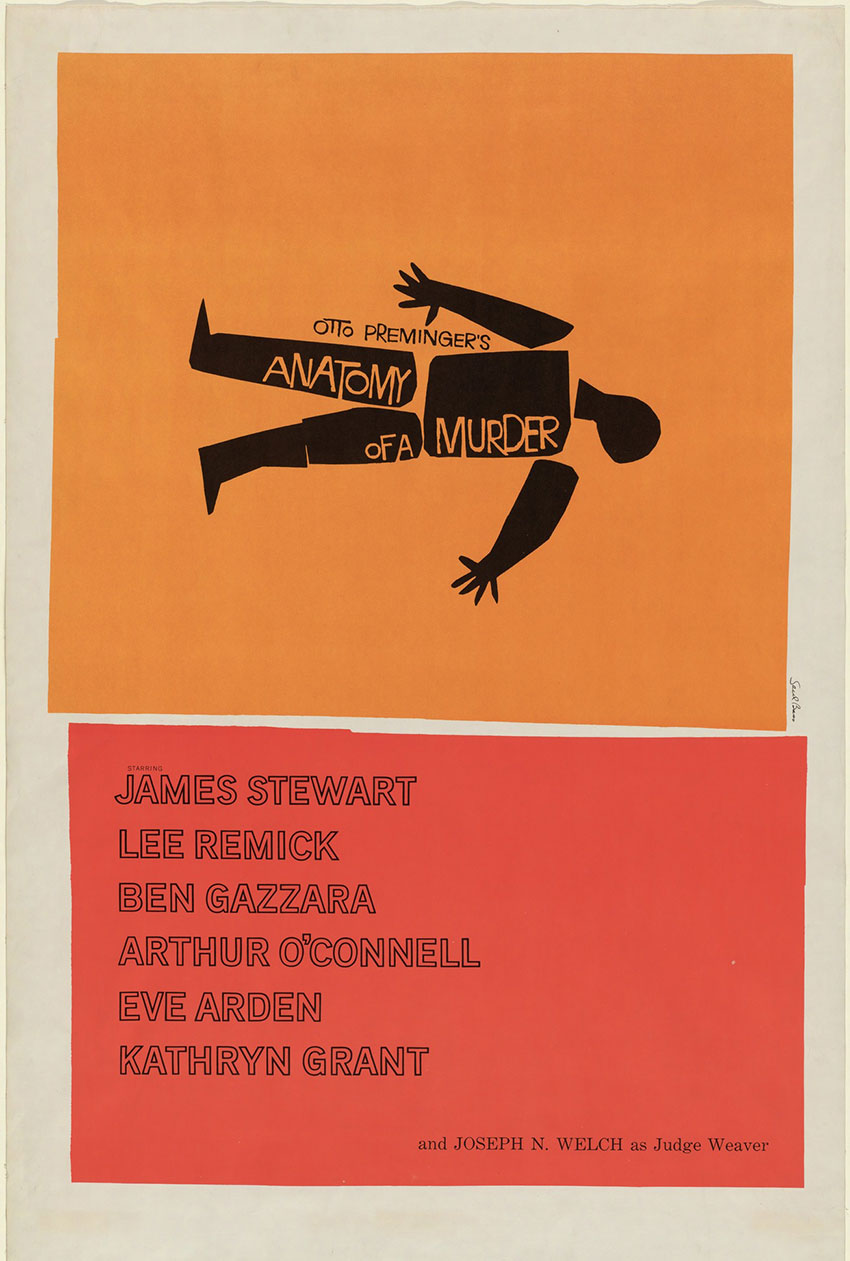 Anatomy of a Murder movie poster by Saul Bass 1959