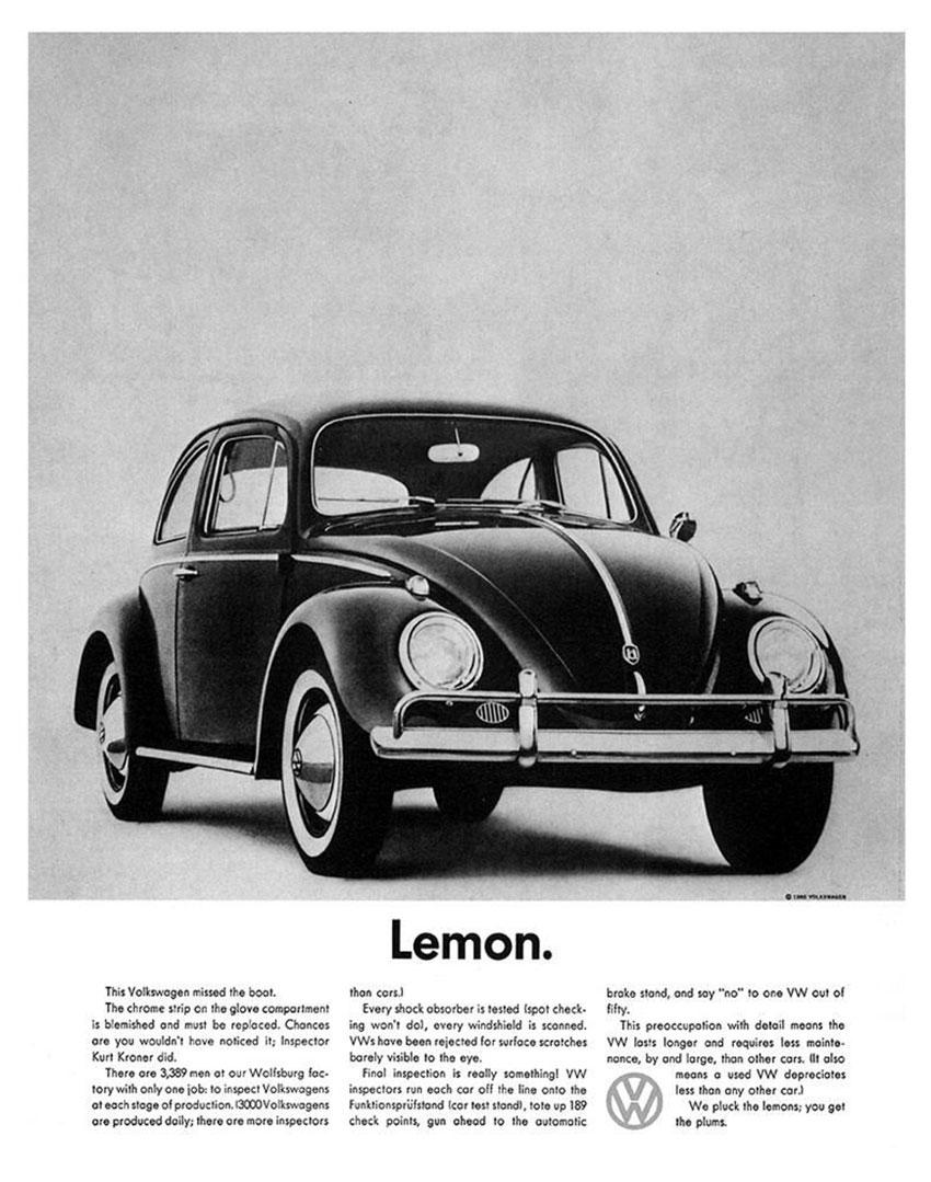 Volkswagen ad Lemon by DDB 1960