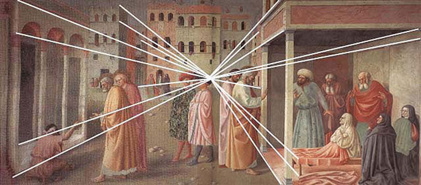 Masolino Da Panicale Healing of the Cripple and Raising of Tabitha 1426-27