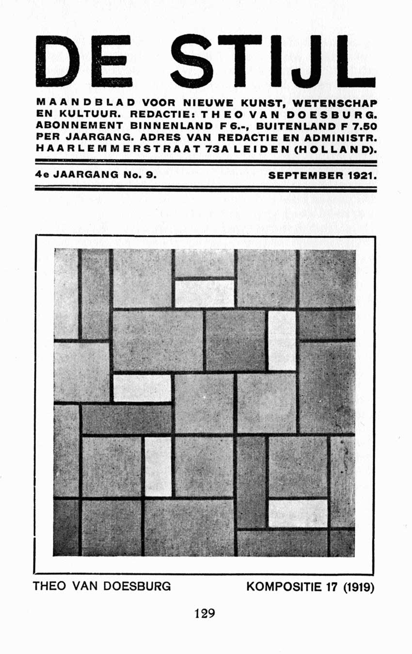 Theo Van Doesburg publication design of De Stijl