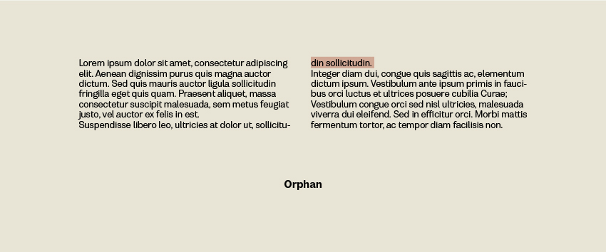 Orphans in Typesetting