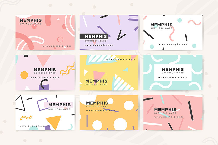 Memphis Name Card Design Vector