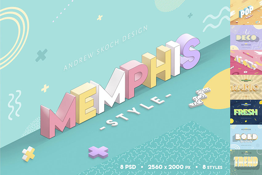 Memphis Style Text Effect