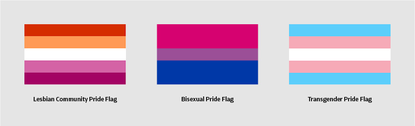 Lesbian Community Pride Flag Bisexual Pride Flag Transgender Pride Flag