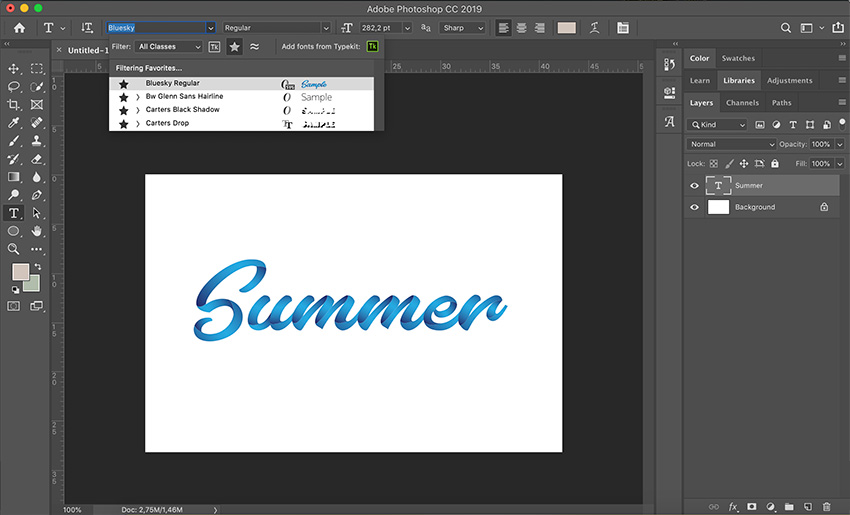 how to use SVG fonts in Photoshop select the text tool and choose your custom font in SVG