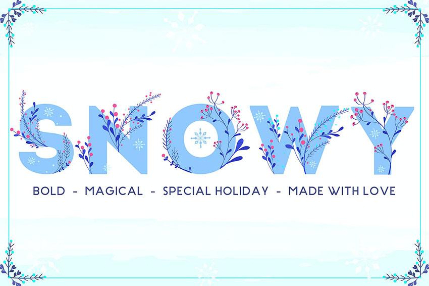 Snowy Winter Floral SVG Color Font