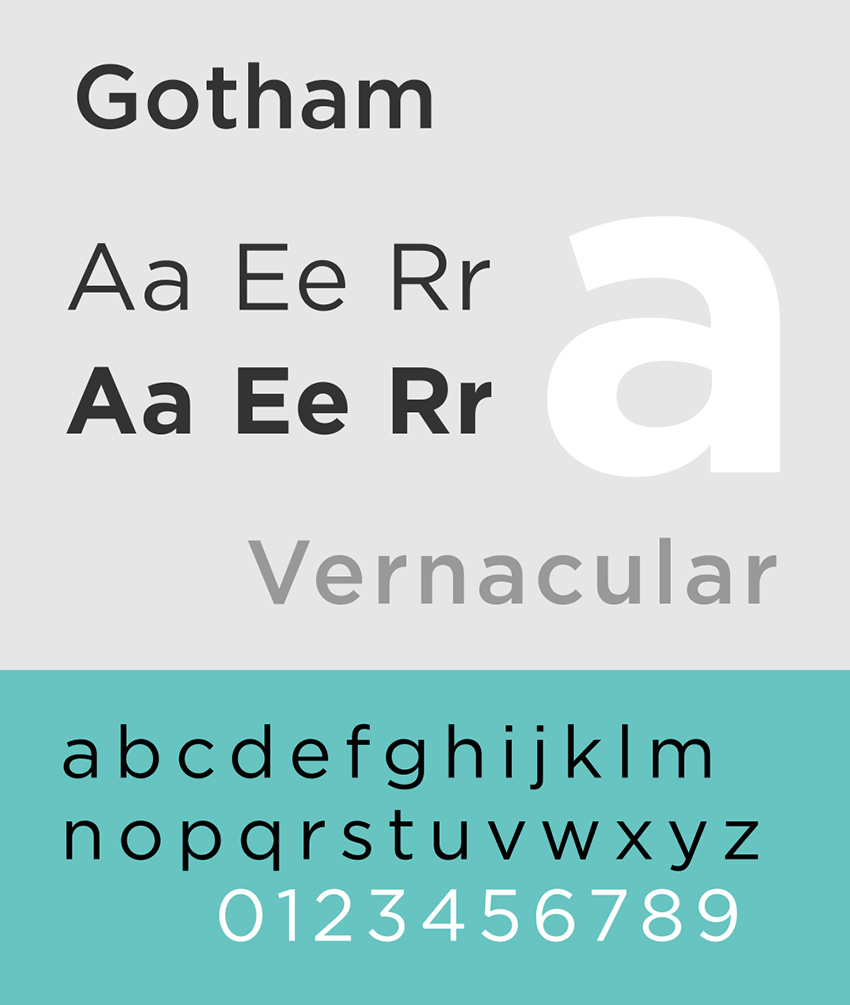 Type specimen for Gotham typefacebyAlexhbis licensed underCC BY-SA 30