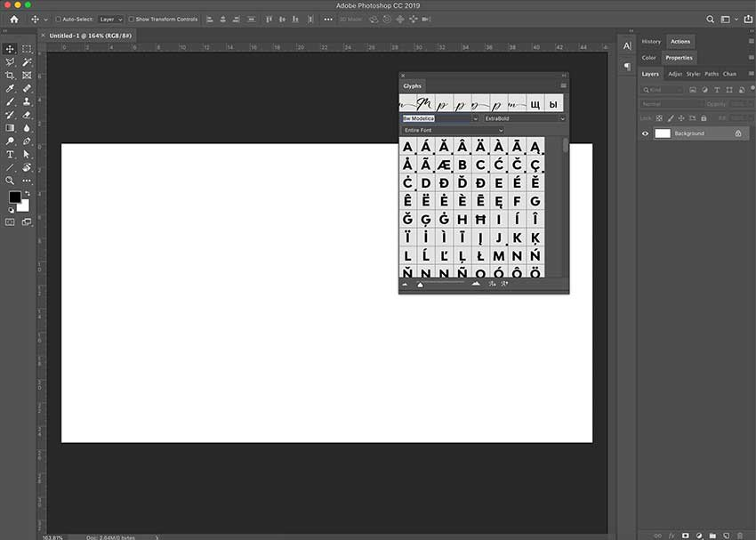 Create a new file and open the glyphs panel