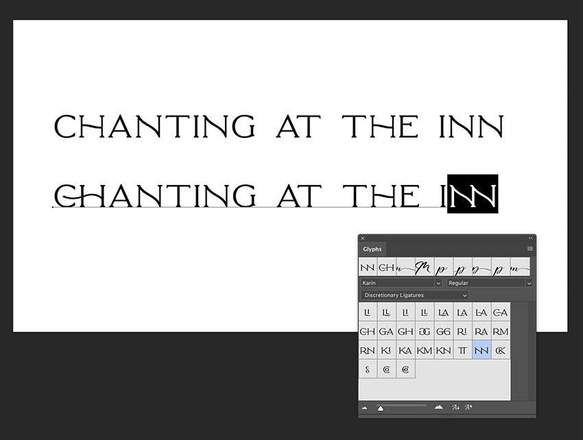 double click on the glyphs panel ligature option to change ligatures
