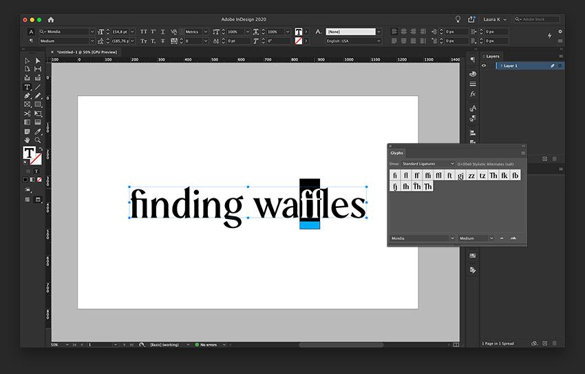 Select Standard Ligatures on the Glyphs panel and change regular characters for ligatures