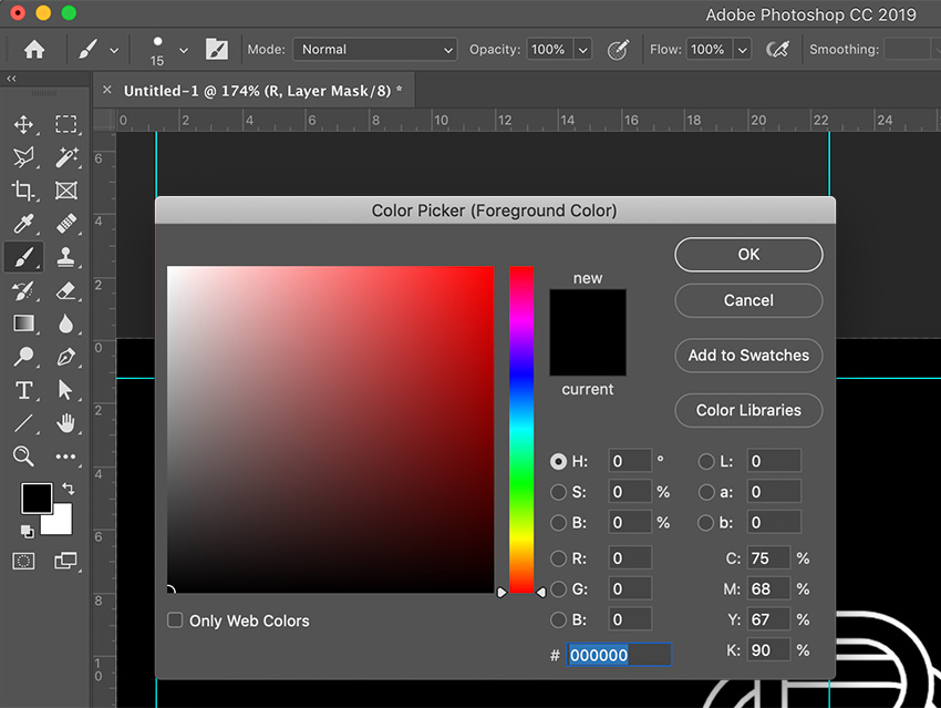 Select the brush tool and set black as the foreground color