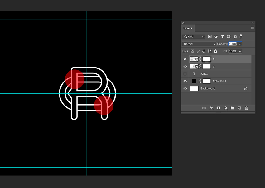 Use the Layer Mask of each initial to create an interlocking effect