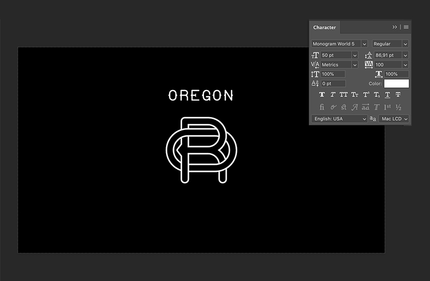 Use the Text Tool to add text over the monogram