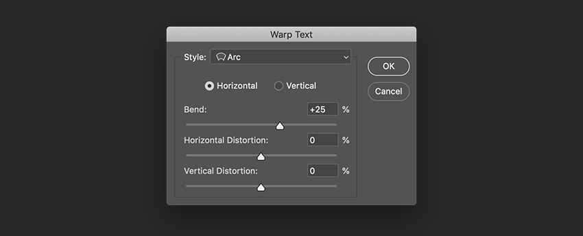 On the Options bar select the Warp Text button and use the Arc Style