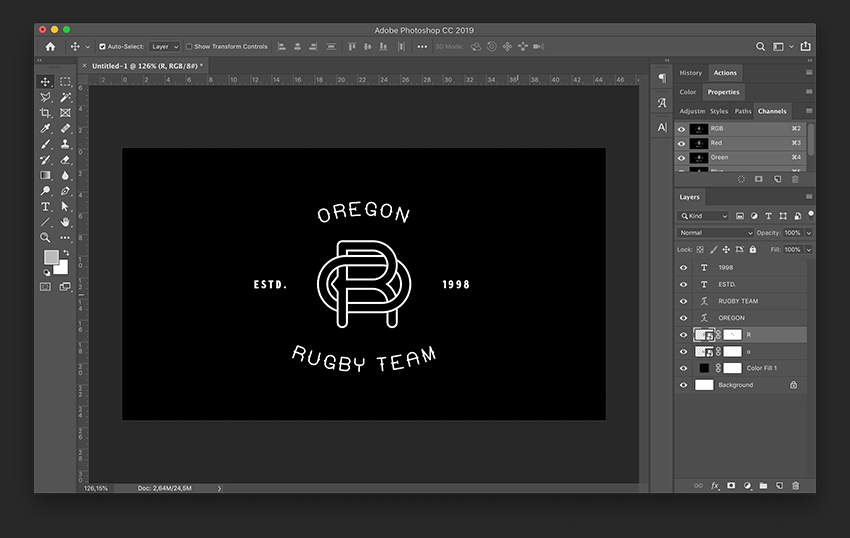 Add details to each side of the monogram using the Text Tool