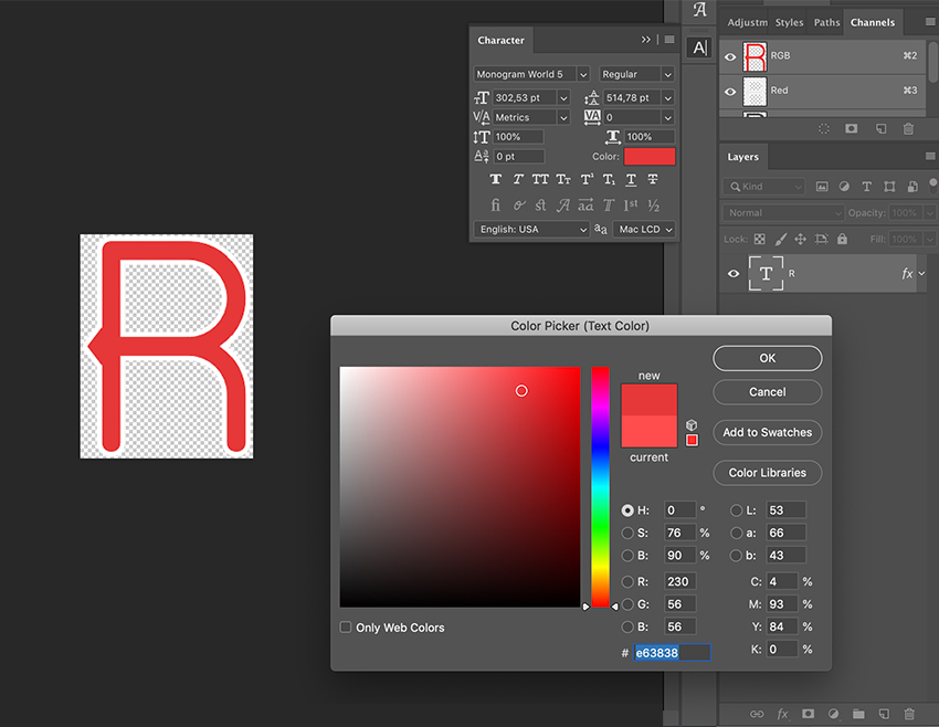 Double-click on the R Smart Layer to change the color of the initial
