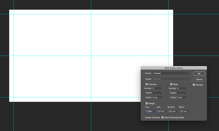 Create guides and margins on the new document