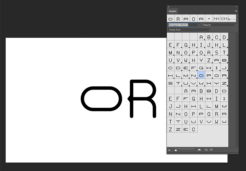 Use the Glyphs panel to select different width characters