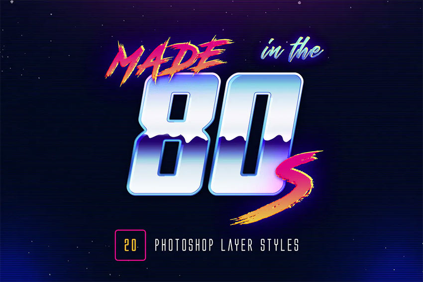 80s Retro - Photoshop Layer Styles