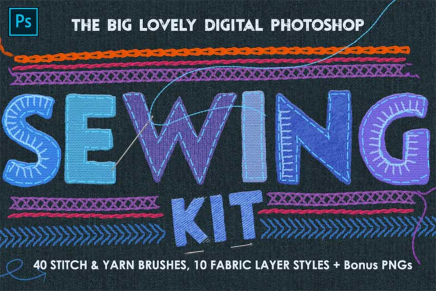 Sewing  Embroidery Photoshop Kit