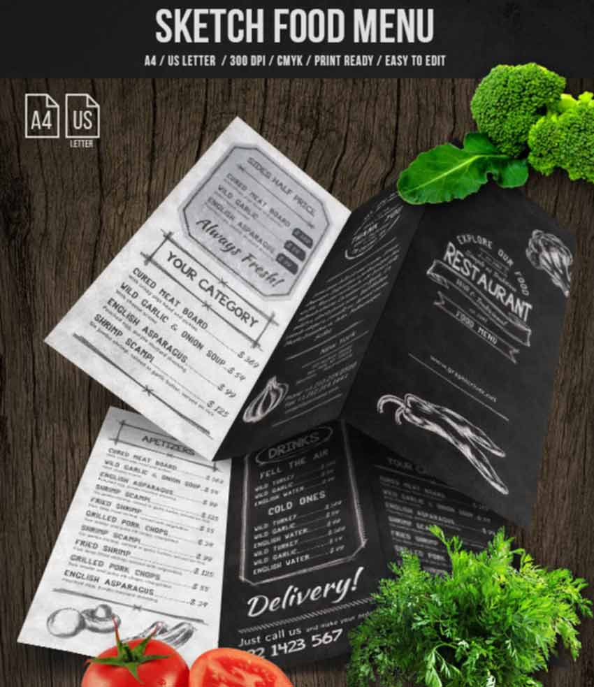 Sketch Trifold Food Menu