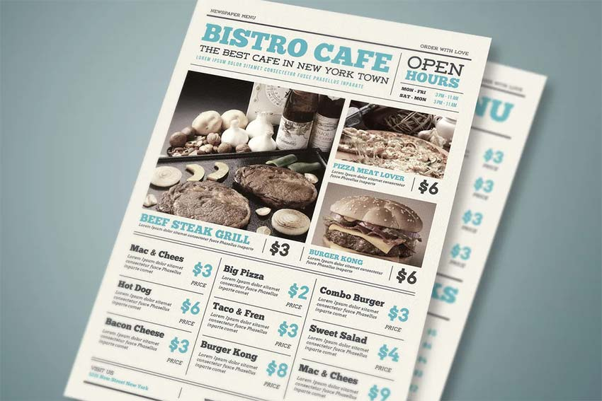 Newspaper Food Menu