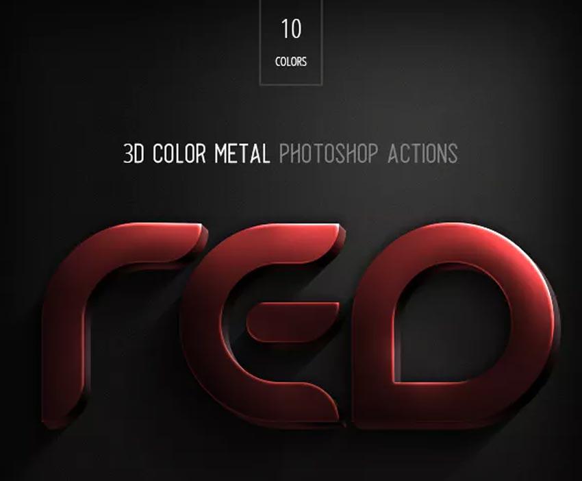 3D Color Metal Photoshop Action