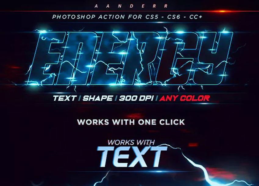 Energy Text Photoshop Action