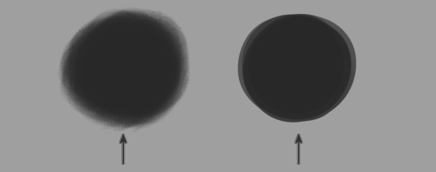Two Sample Circles drawn with different Brushes