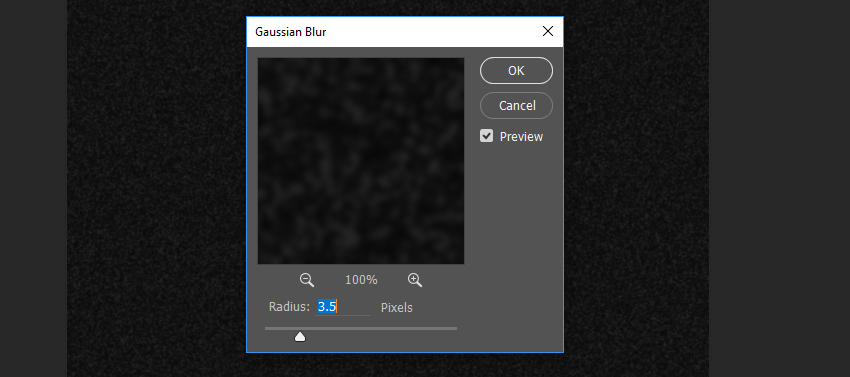 Example of Gaussian Blur settings