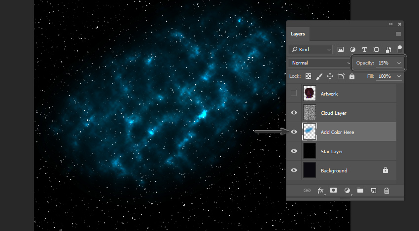 Example that shows color added to the galaxy background